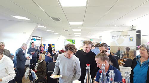 Everyone digs in to the free Celebration Day lunch