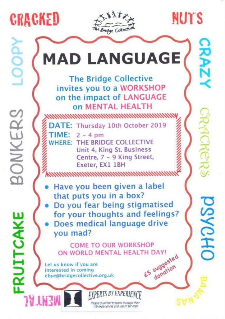 Mad Language flyer by the Bridge Collective event details and company information